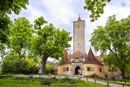 the castle gate in Rothenburg ob der Tauber on your Germany road trip