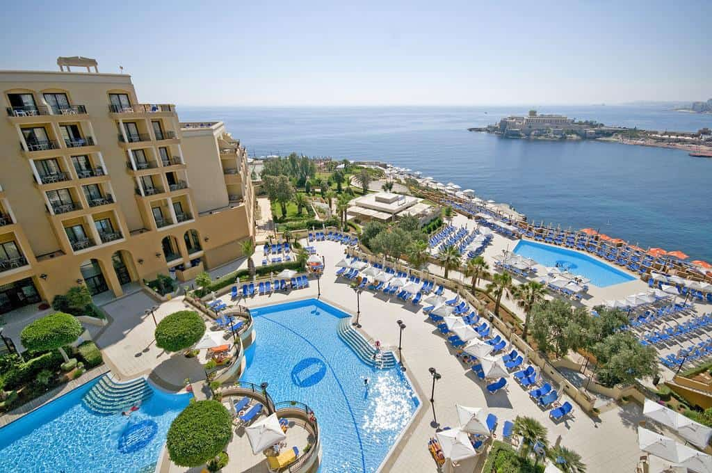 where to stay in Malta in St Julians Bay is Corinthia Hotel St Georges Bay with its five pools