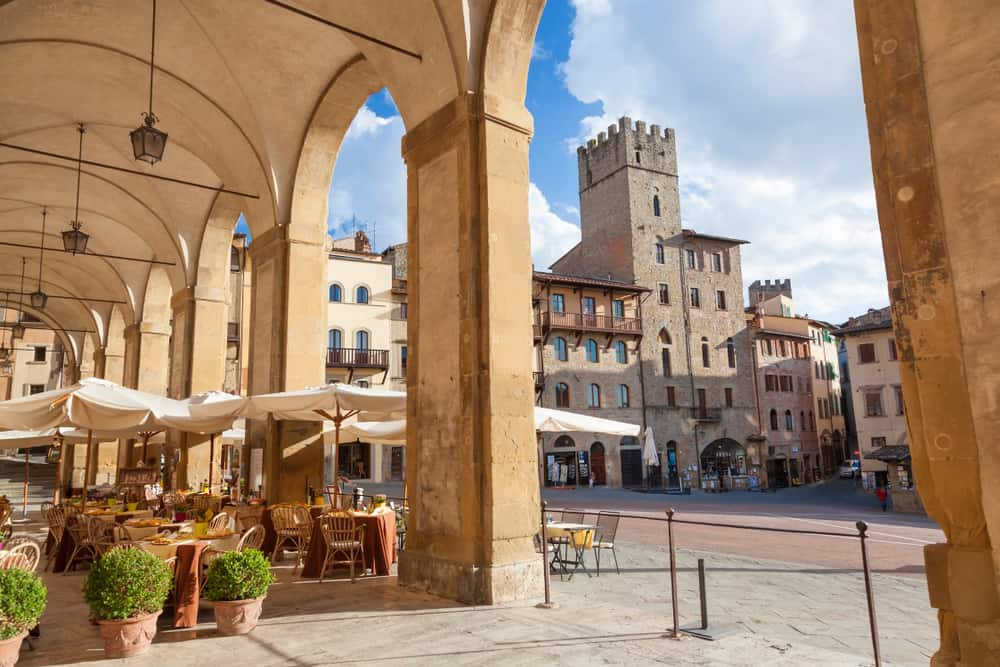 Photo of Piazza Grande in Arezzo, a great place to consider when deciding where to stay in Tuscany.