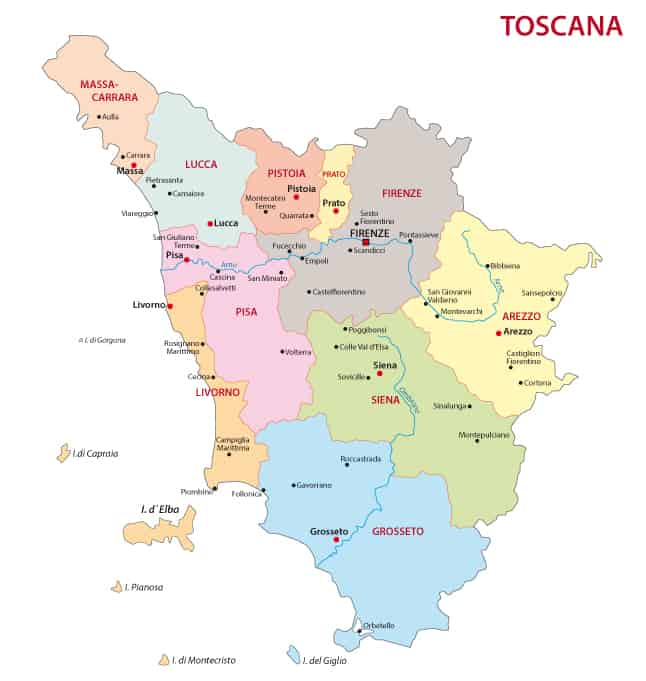 Photo of map of Tuscany, to help you decide where to stay in Tuscany!