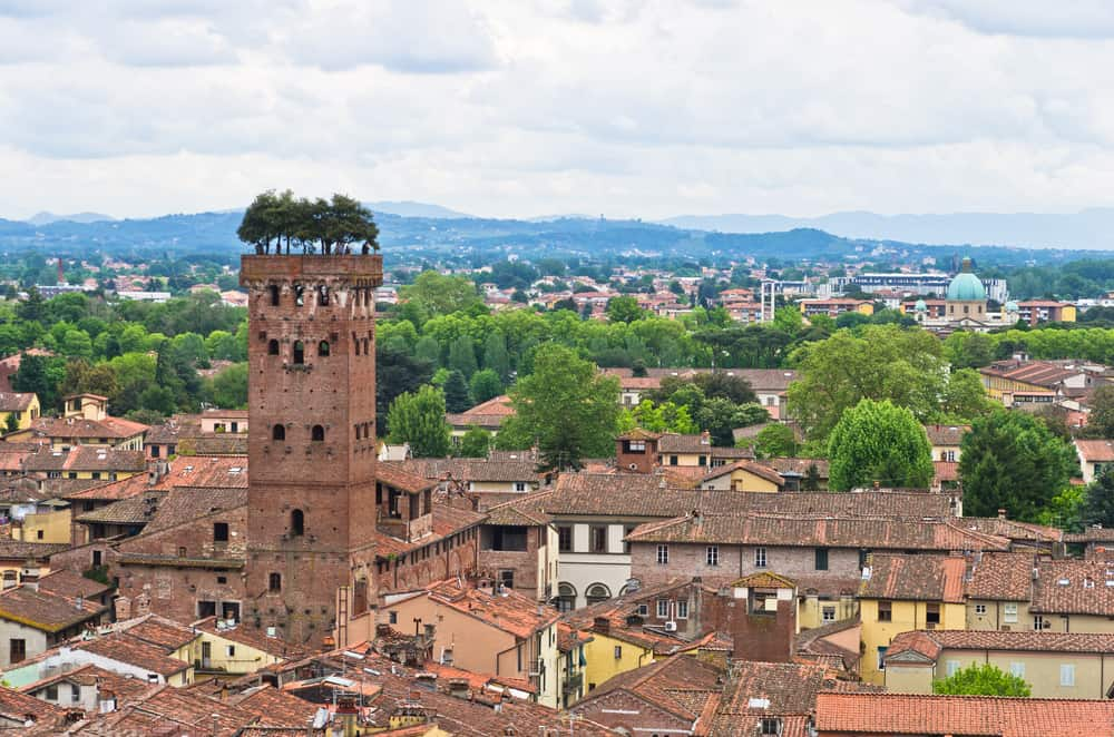 Photo of Guinigi tower in Lucca, a beautiful city when considering where to stay in Tuscany.