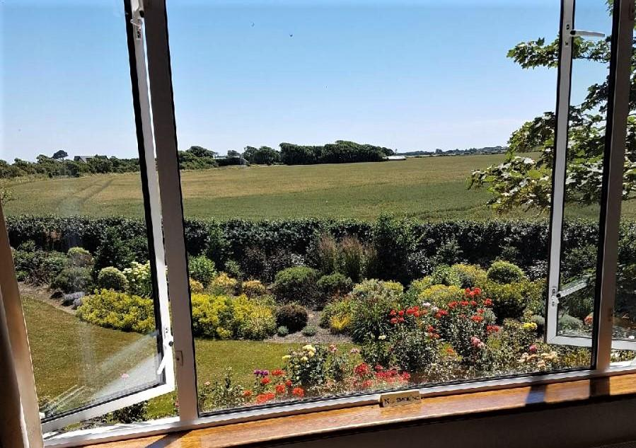 Photo of window view from the Groveside Farm B&B, a lovely place to stay during your honeymoon to Ireland.
