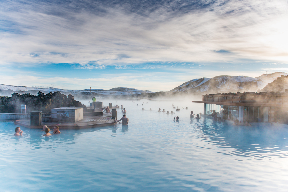 relaxing in the Blue Lagoon in Iceland in March
