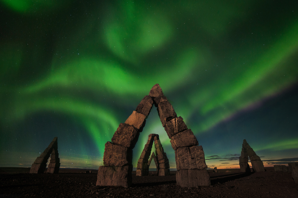 the Northern Lights over the Arctic Henge in Iceland in March