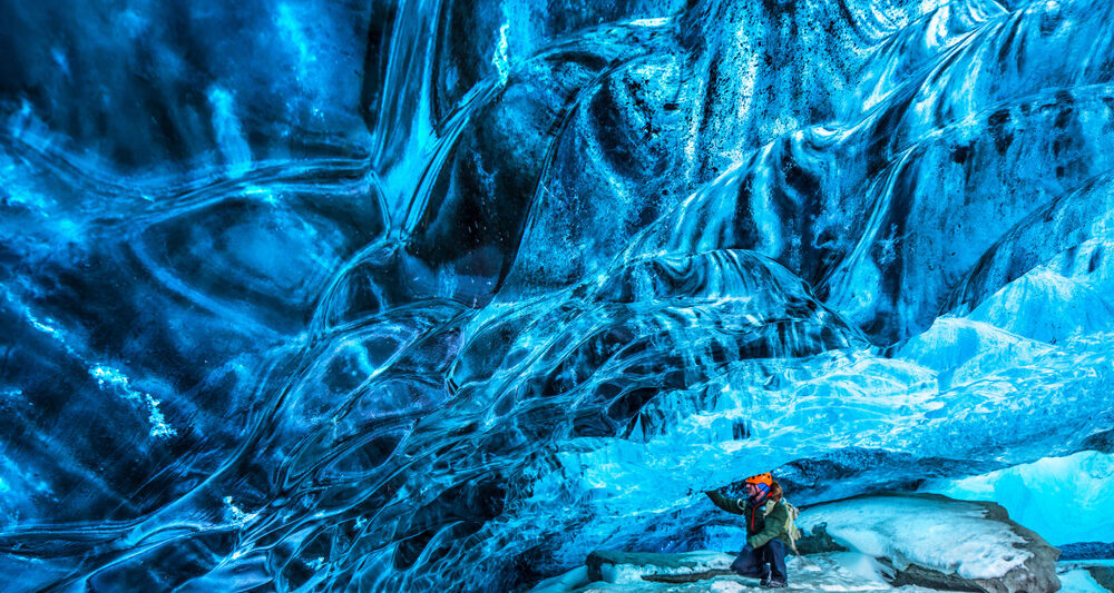 a Vatnajokull ice cave in Iceland in March