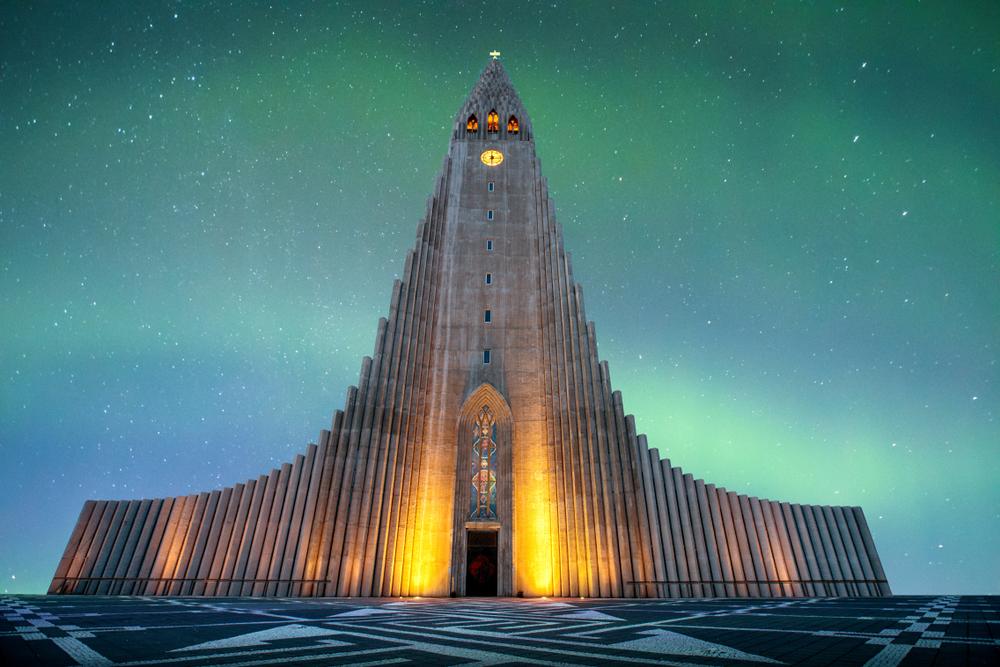 Hallgrimskirkja in downtown Reykjavik during your 4 days in Iceland