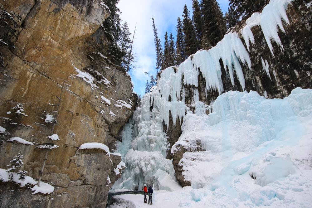 Frozen ice walks are poplar in Banff in winter