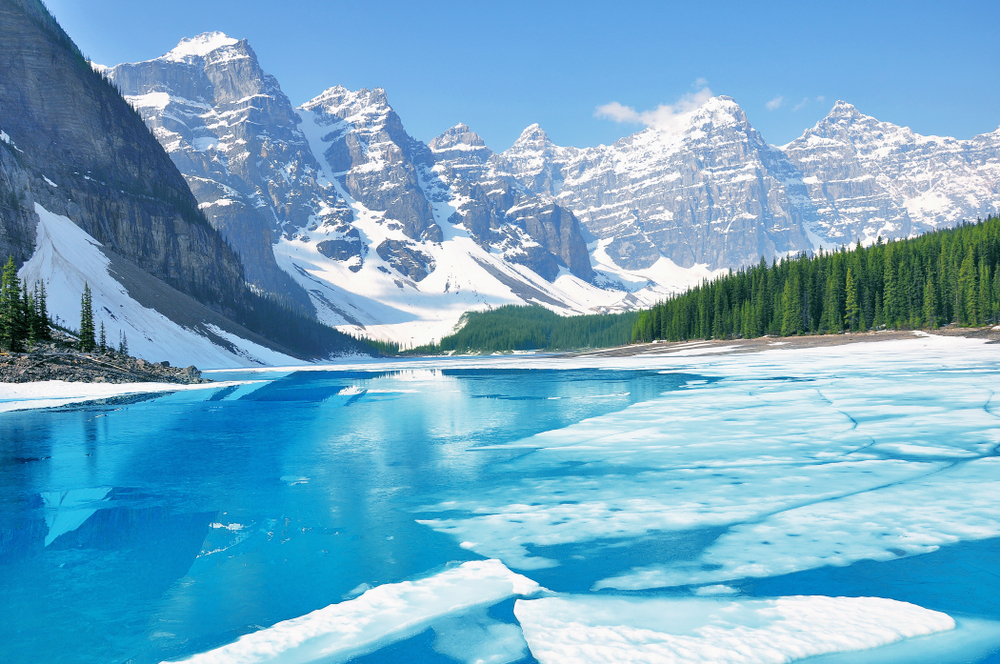 Banff in winter offers great views of their famous lakes and national parks!