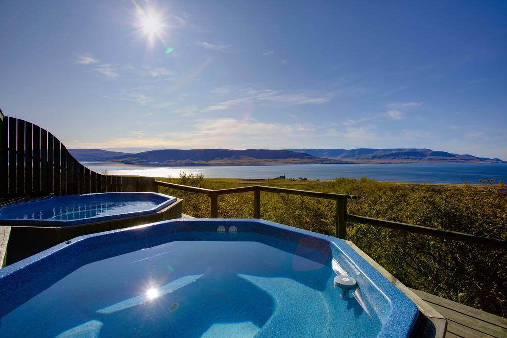 Photo of hot tubs at Hotel Glymur, a great Iceland honeymoon location.