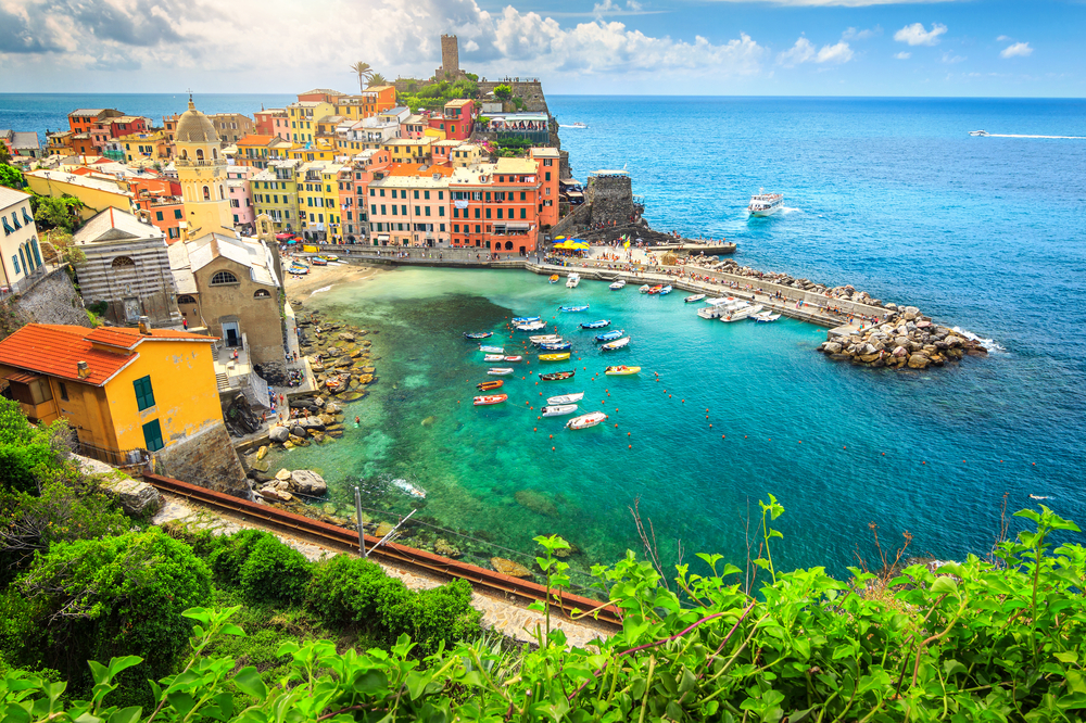 view of colorful Italian village of Vernazza