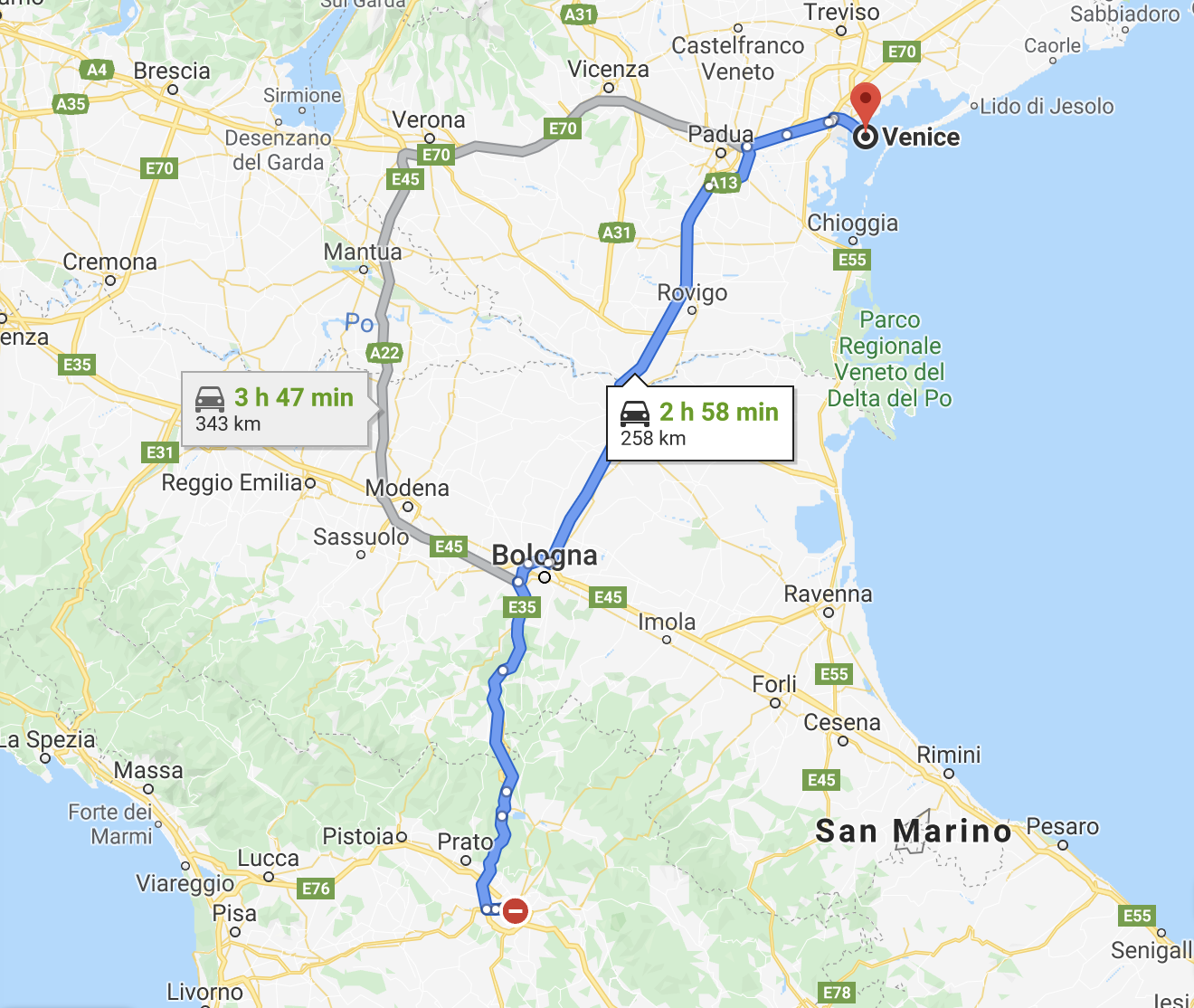 Google Map of Florence to Venice Distance