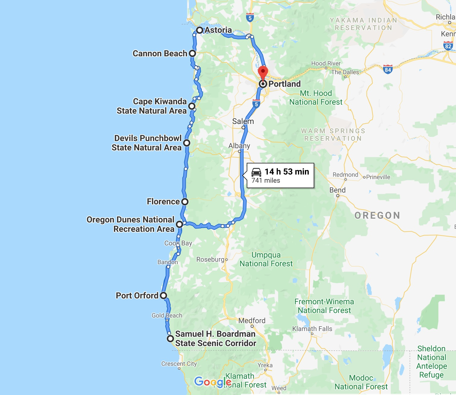 a map of your Oregon coast road trip itinerary