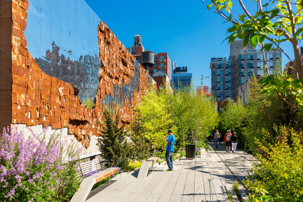 The High Line during a beautiful day with clear skies