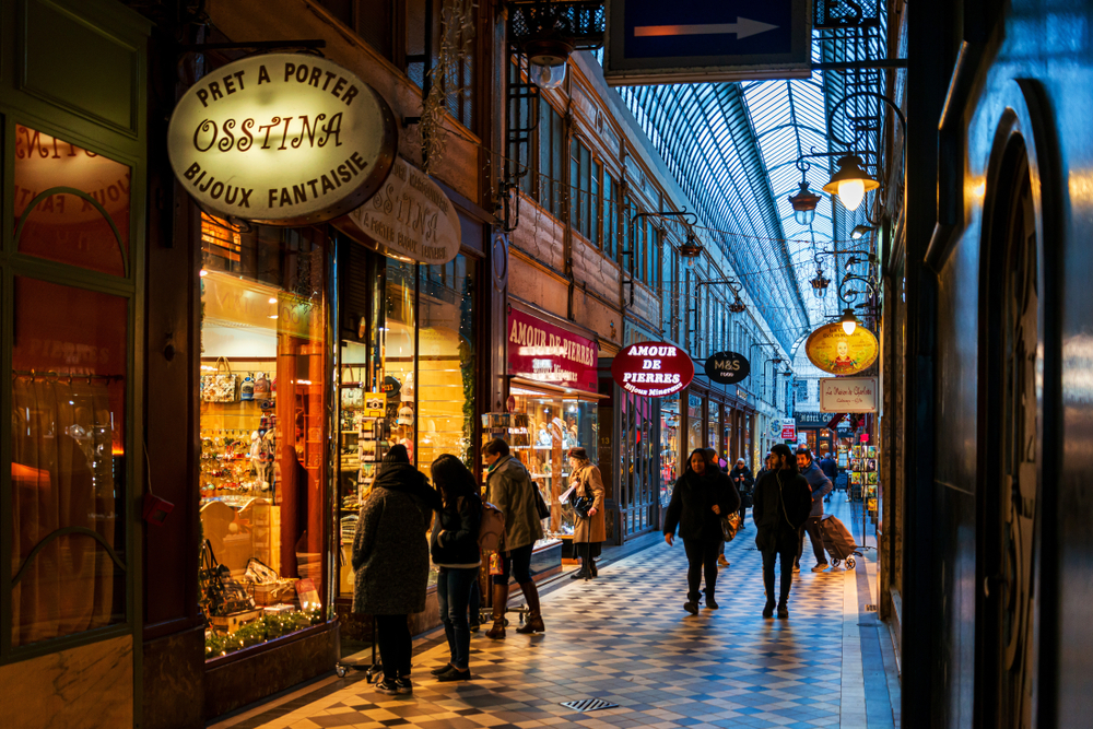 Paris at night covered passages
