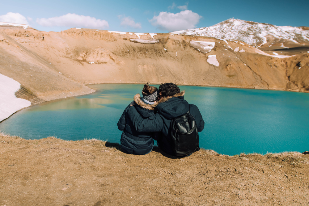 Photo of couple by Krafla crater in Iceland.
