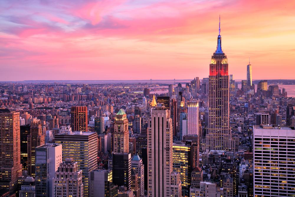 Sun setting over Manhattan