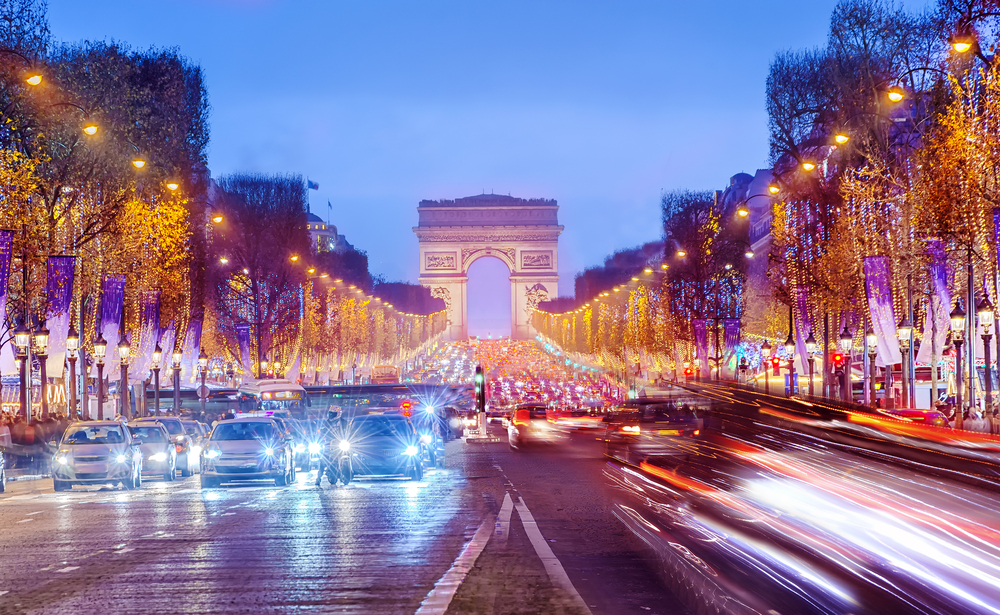 View of the Champs Elysees at night in Paris