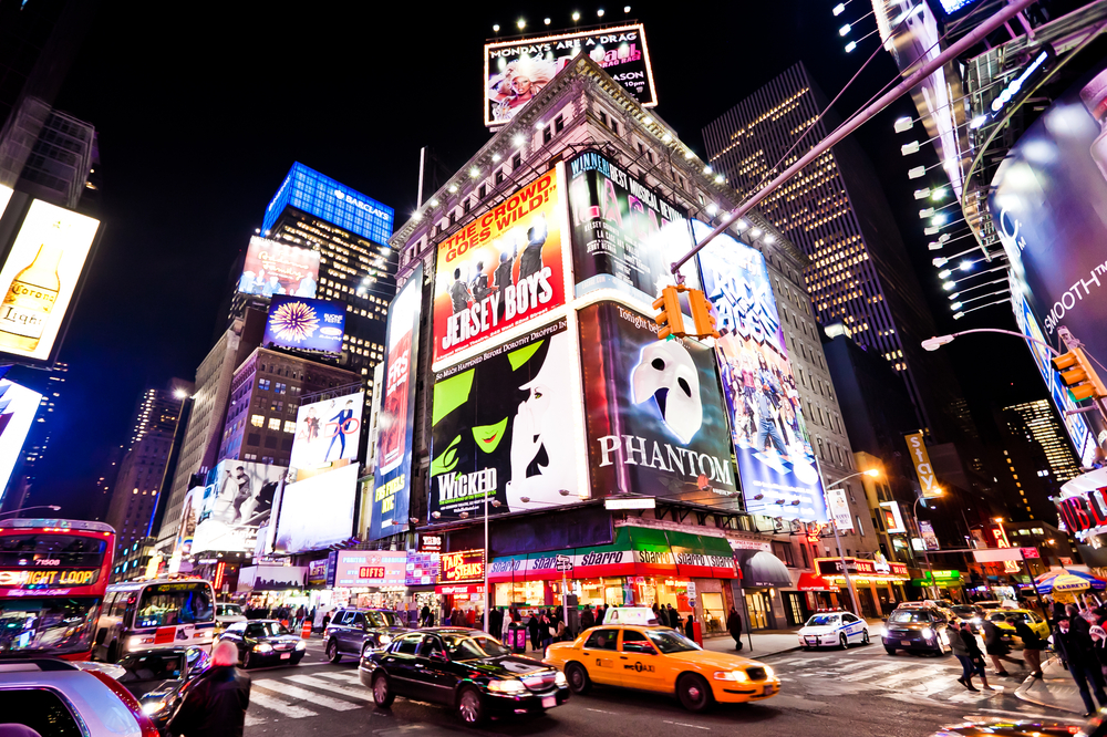 Times Square Broadway Billboards busy at night