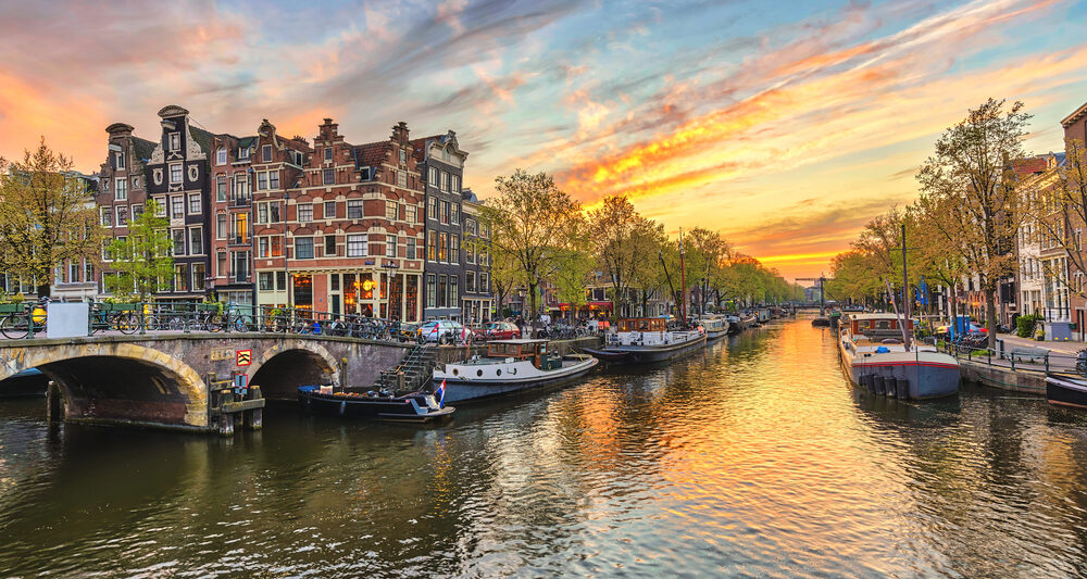 3 Days in Amsterdam Canal at Sunset