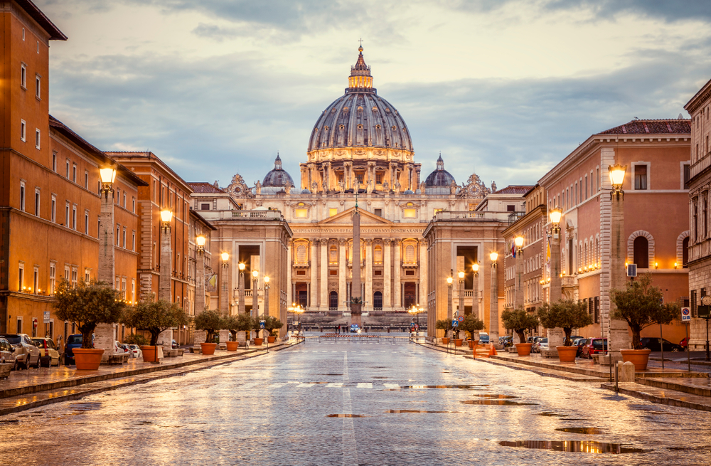 Vatican lit up in golden light