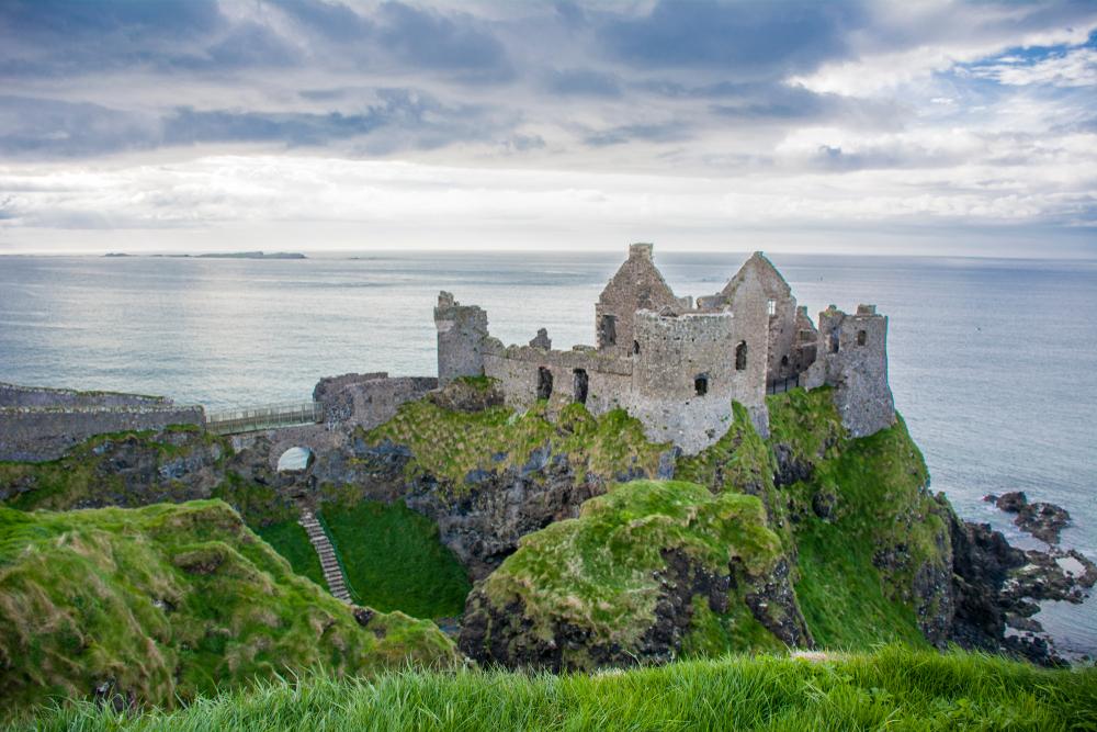Dunluce Castle overlooking the sea