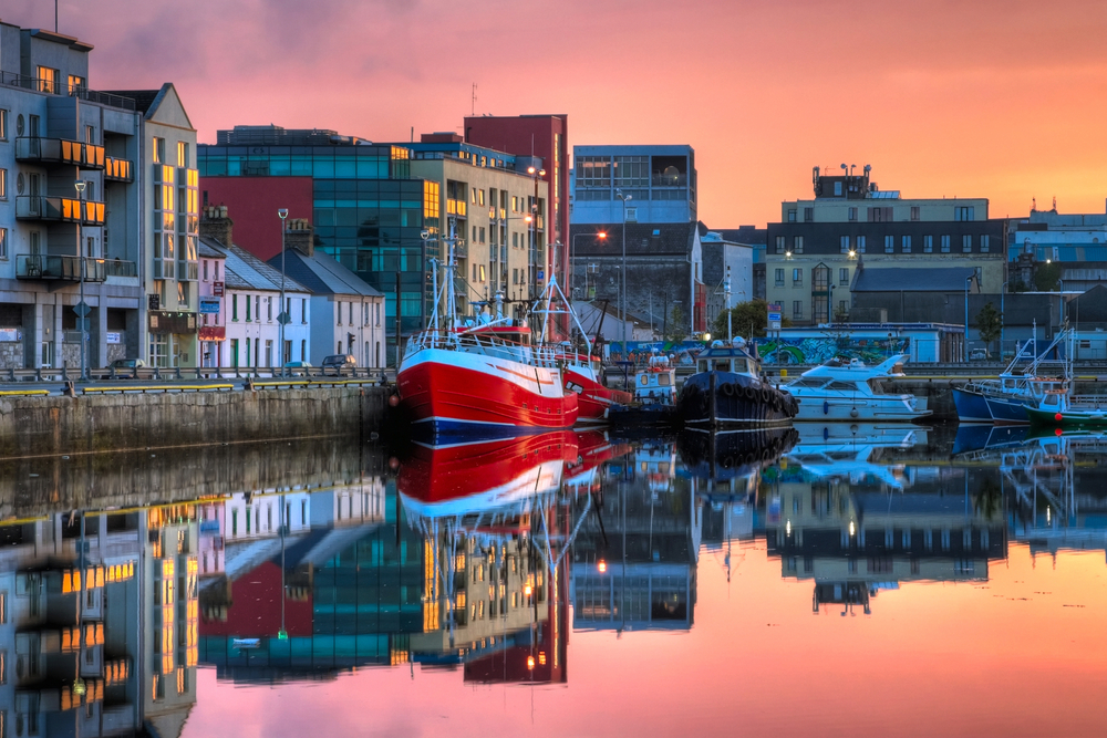 colorful sunset on Galway pier