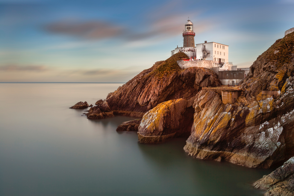howth lighthouse during sunrise day trips from dublin