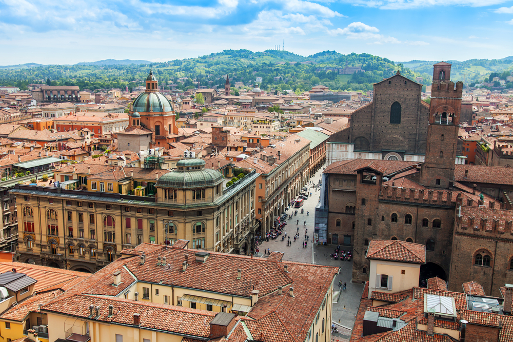 red rooftops of historic bologna old city