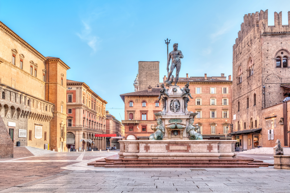 Bologna square with Neptune fountain day trips from Florence