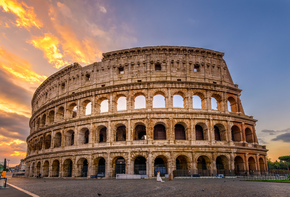 Rome Colosseum at sunset day trips from Florence