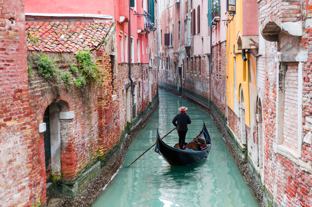 small Venetian canal with gondola