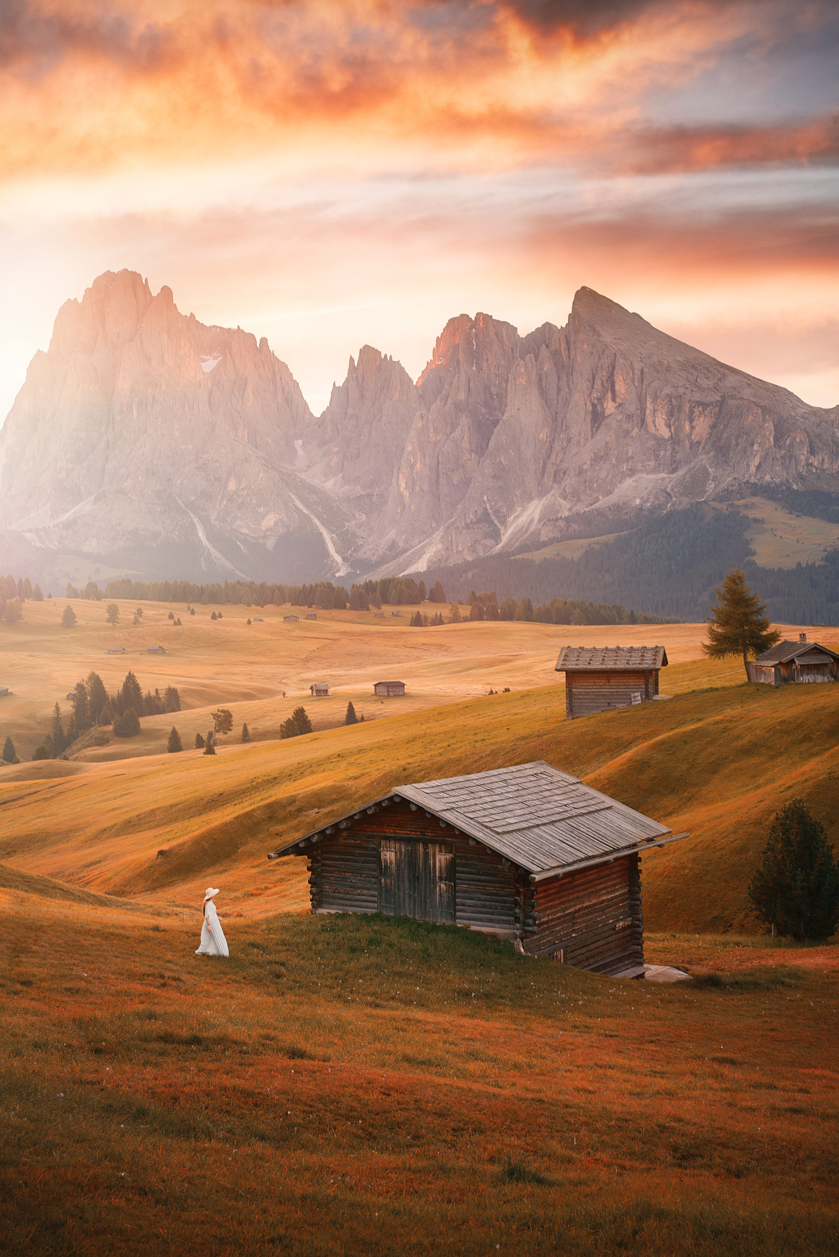 Picturesque Alpe Di Siusi situated up in the famous Dolomites hiking area.