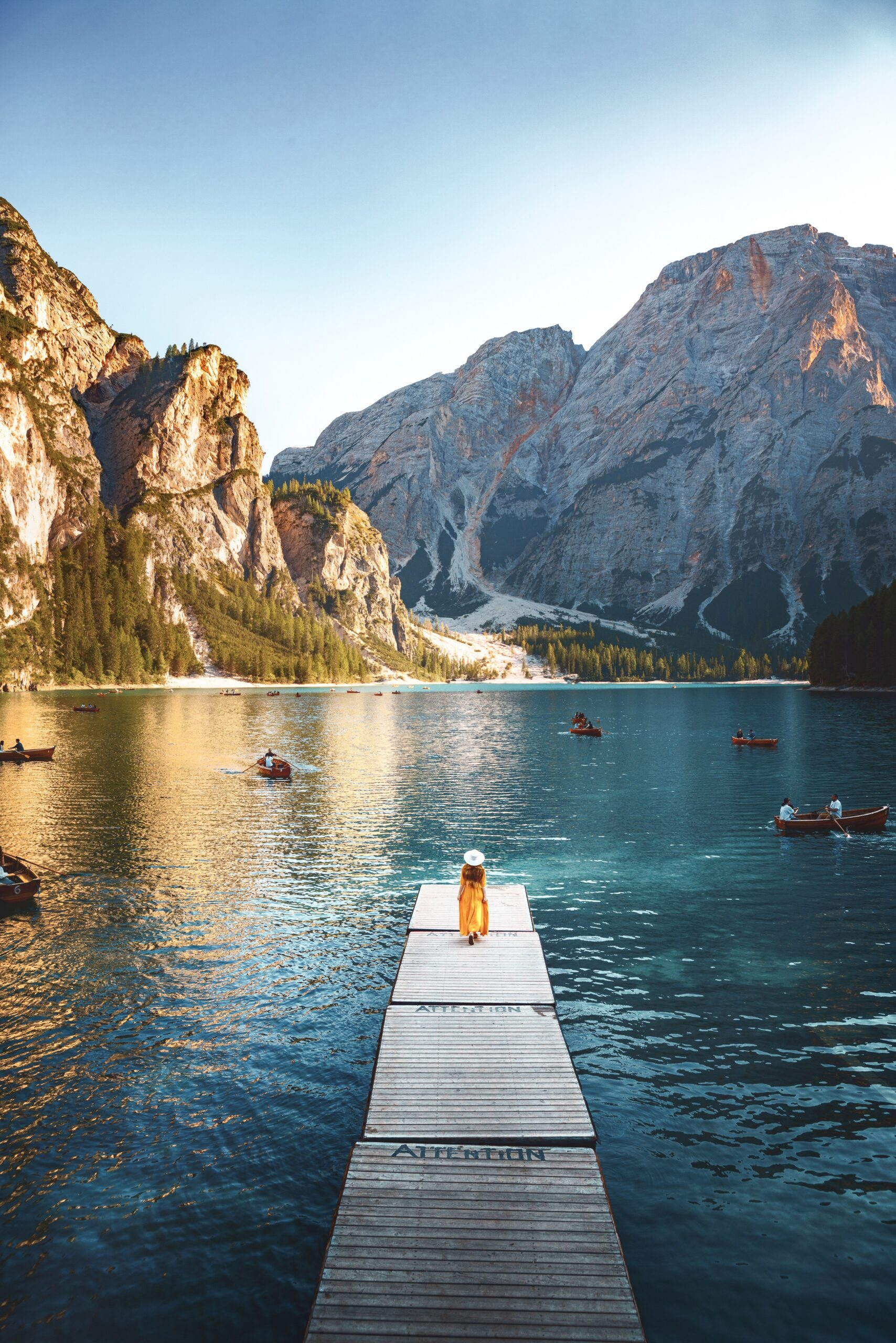 Lago Di Braies often photgraphed boat dock looking out over the mountains.