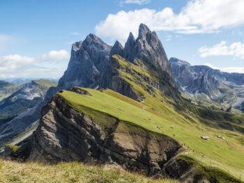 The iconic Seceda Ridge in italian Dolomites.