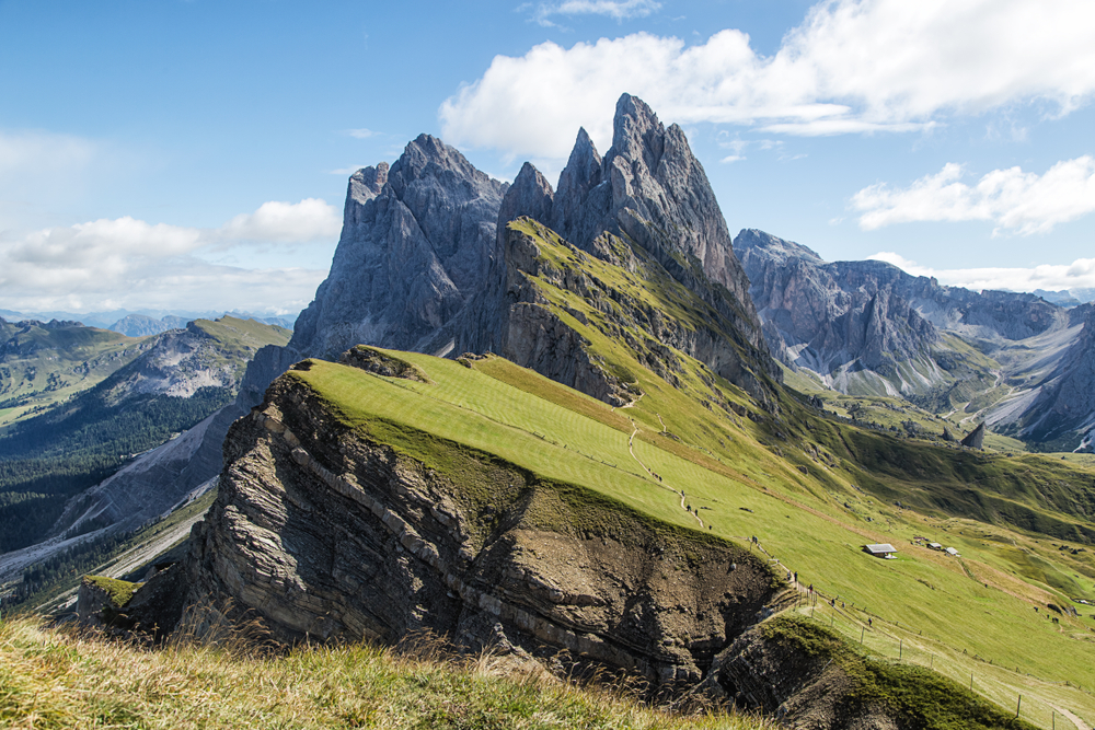 The iconic Seceda Ridge in italian Dolomites.