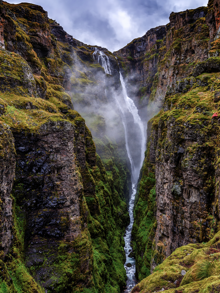 Iceland Canyon Glymur Canyon with waterfall
