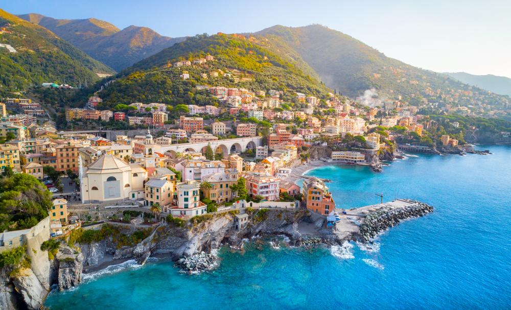 Bogliasco coastline one of the prettiest beach towns in Italy.