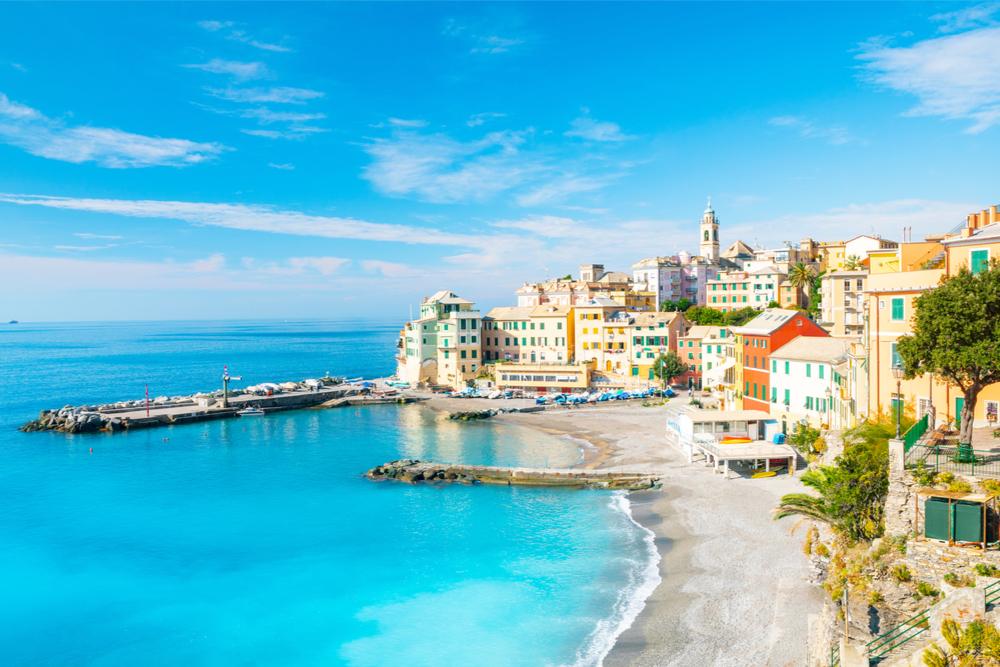 View of Puglia Bogliasco's coast, one of the prettiest beach towns in Italy.