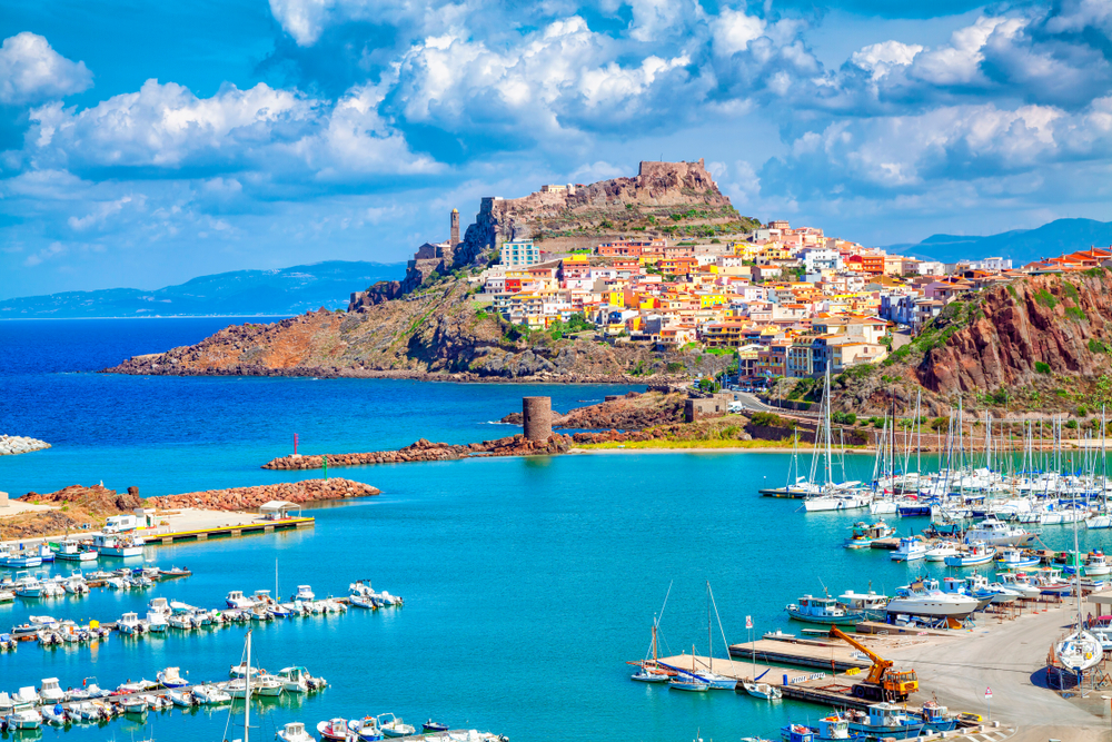 Harbor and town of Castelsardo one of the prettiest beach towns in Italy.