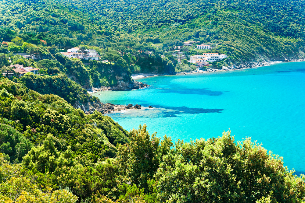 Aerial view of coastline with gorgeous green trees and bright blue water in one of the prettiest beach towns in Italy, Elba Island.