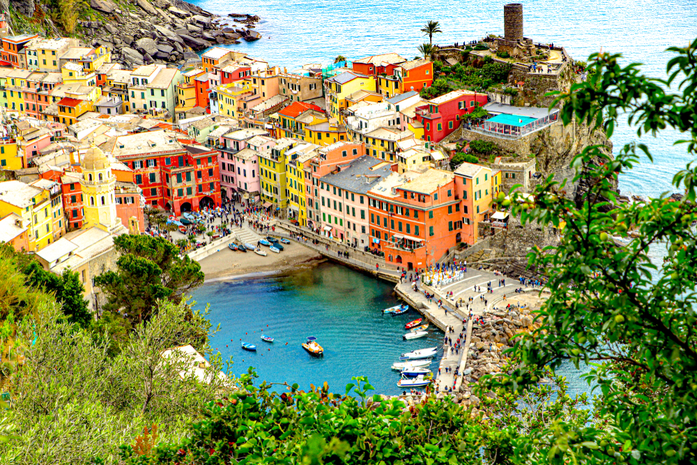 Bird's eye view of Vernazza one of the prettiest beach towns in Italy.