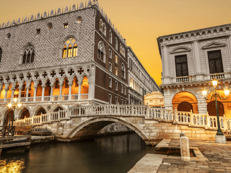 A view of Doge's Palace from the edge of the canal in Venice, Italy.