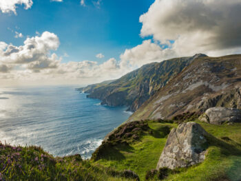 The Slieve League Cliffs jutting out of the sea beneath.