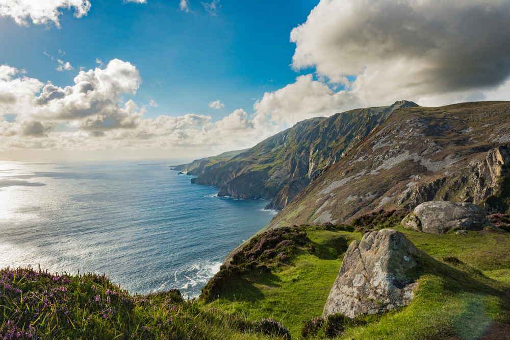 Incredible Slieve League Cliffs towering over the ocean.