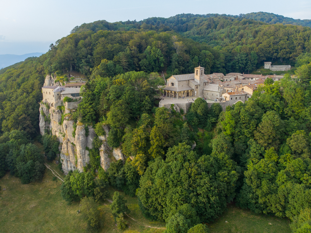 The sanctuary of Verna high on a cliff is one of the things to do in Tuscany