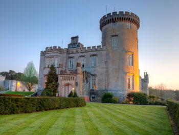 A fancy castle hotel in the Irish countryside.