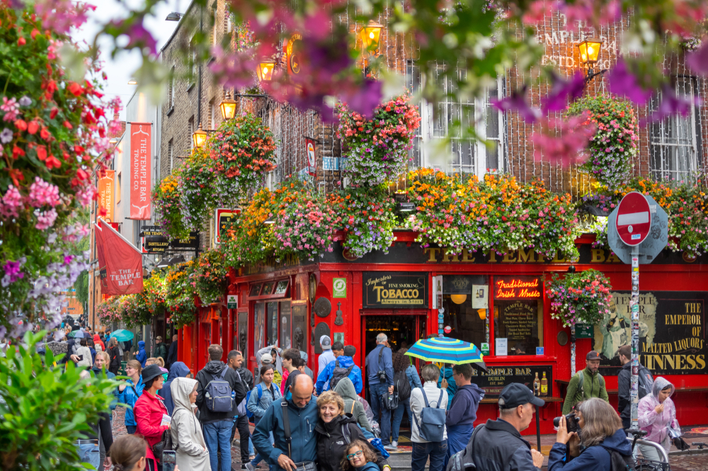 Temple Bar, the famous area to walk through and consider in your trip to Ireland cost.