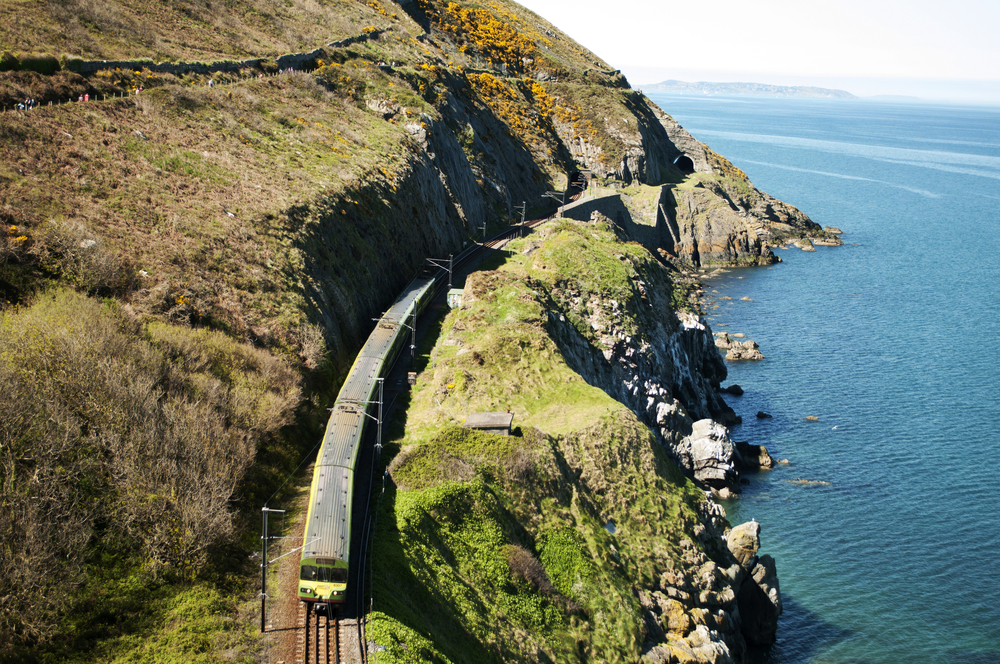 A train along the beautiful Irish coast.
