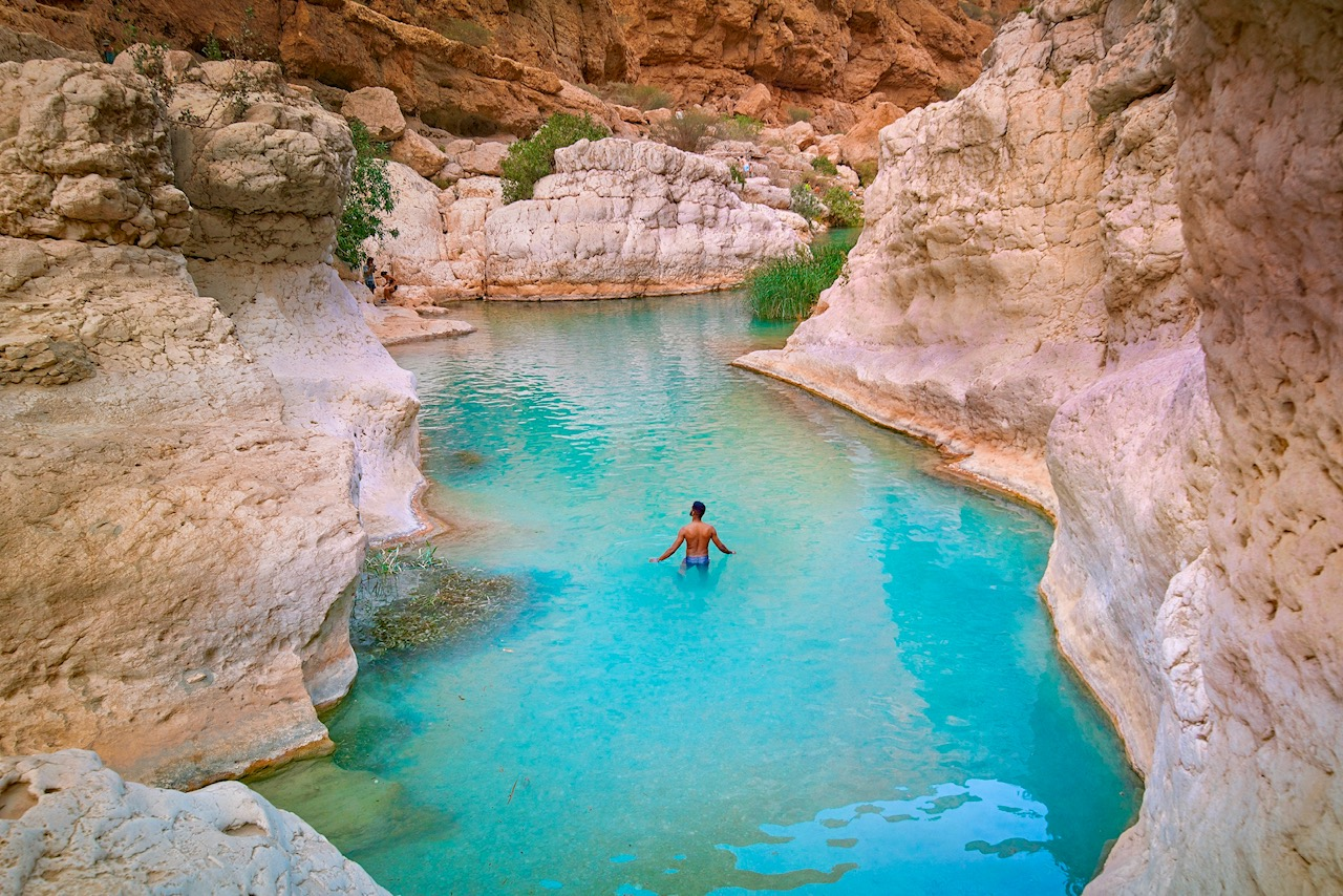 Swimming at Wadi Shab, one of the prettiest wadis in Oman