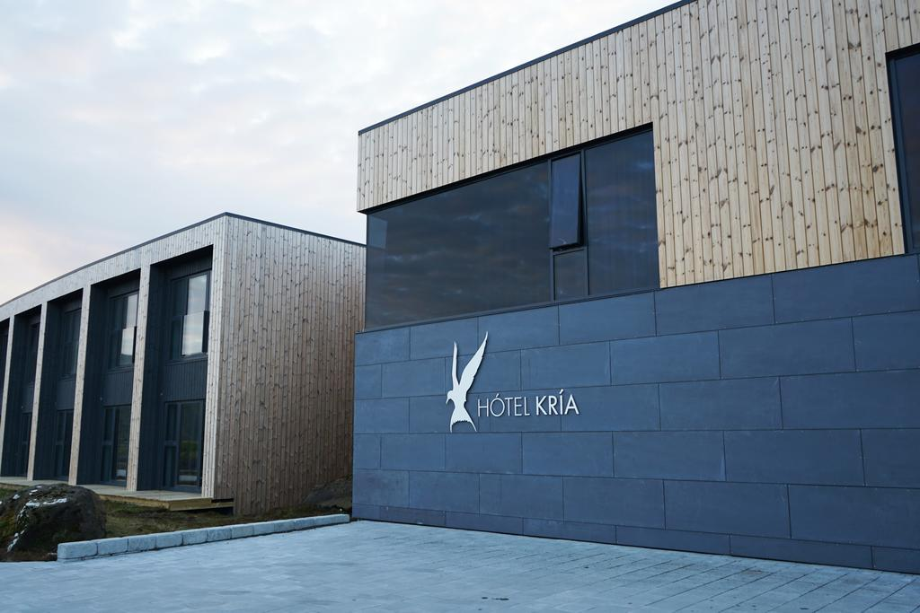 Photo of the front entrance to Hotel Kria located in Vik Iceland.